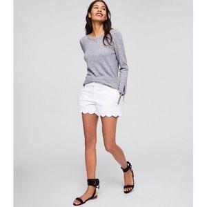 LOFT Ann Taylor White Scallop Riviera Shorts